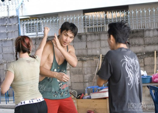 Dragons at work: 'Dragon Lady' Cynthia Rothrock and ex-kickbox champion Don Wilson rehearse a fight choreography for their fight scene in Thailand.