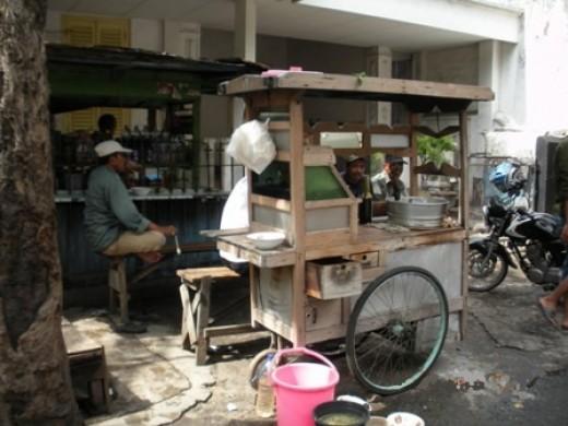 Hawker stall at roadside.