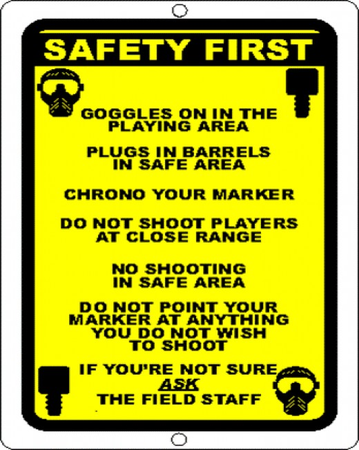 Paintball safety sign.