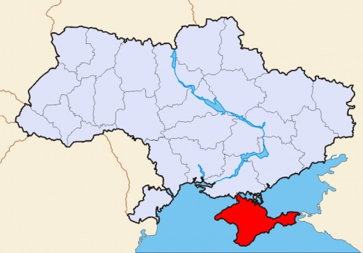 The Crimea (in red) and Ukraine - Siward Bearn's 'Little England' lay to the east of the isthmus that almost separated the Crimea from the 'mainland'