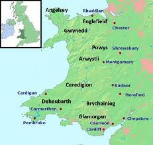 Mediaeval Wales - Chester is on the top right, Shrewsbury is around top-centre right. These were bases for the 'Marcher Lords' to expand their areas of influence.