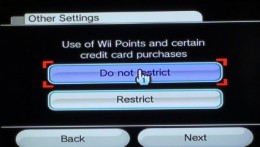 Select whether to restrict or not restrict specific parts of the console.