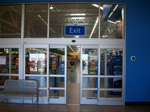 The view into the rebuilt Walmart shows everything sparkling new and bright.