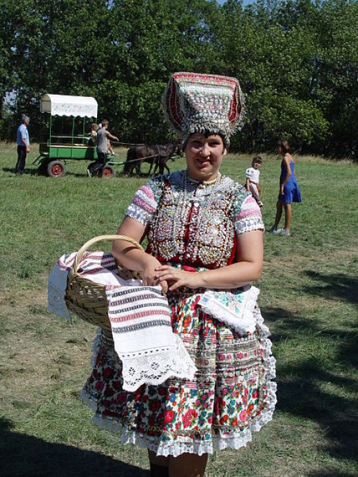 Slovak woman in folklore clothes