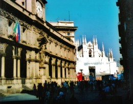 The Duomo cathedral as seen from an approaching street.