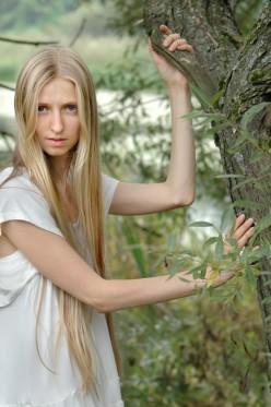 Long golden hair.