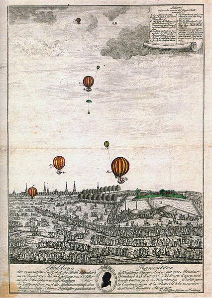 Balloon flight above Hamburg - 1786