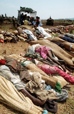 Bodies of Rwandan Refugees that had died due to lack of fresh water during the Rwandan Genocide in 1994 (50,000 Refugees died)