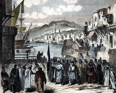 An artist's depiction of a scene after the 1860 events in Lebanon. Abd al-Qader in the center.