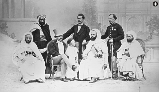 This 1867 photograph shows Abd el-Kader seated with General Patrice de Mac-Mahon, who became president of France in 1875.
