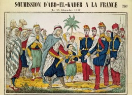 """""""The Surrender of Abd el-Kader to France"""" is the title of this colored engraving, dated December 25,1847. After years as a fugitive in Morocco, Abd el-Kader surrendered on December 23 of that year"""