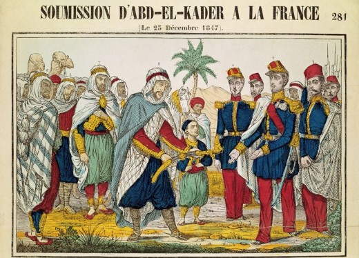 """The Surrender of Abd el-Kader to France"" is the title of this colored engraving, dated December 25,1847. After years as a fugitive in Morocco, Abd el-Kader surrendered on December 23 of that year"