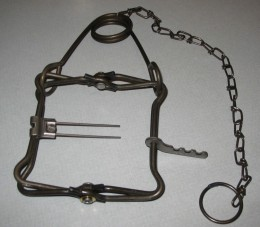 A Conibear trap, normally used to entrap and kill small to medium sized game animals.