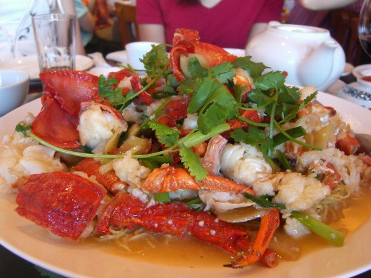 Stir-Fried Lobster on A Bed of Noodles