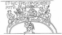Odo gives a blessing before a meal - from the Bayeux Tapestry original design