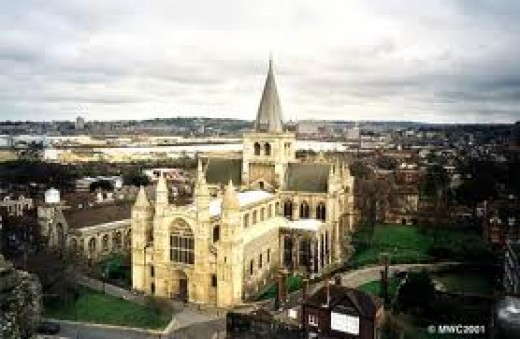 ... the business address, Rochester Cathedral with the Medway in the background