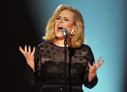 Adele gave an amazing performance at the 54th Annual Grammy Awards. Her dress was by Giorgio Armani.