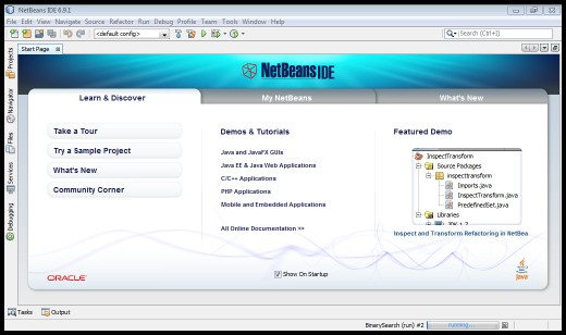 Netbeans IDE Start-up Page