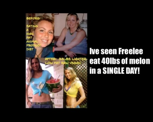 This shows before and after pictures. It says that she lost 33 pounds. This video was making fun of someone saying that eating melons makes you fat. This woman has eaten 40 pounds of melons in a single day!