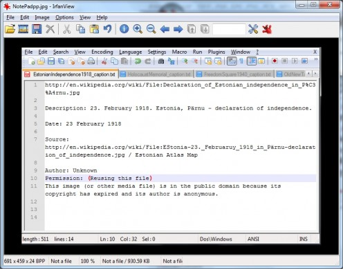 An IrfanView image showing a NotePadpp screen-grab.