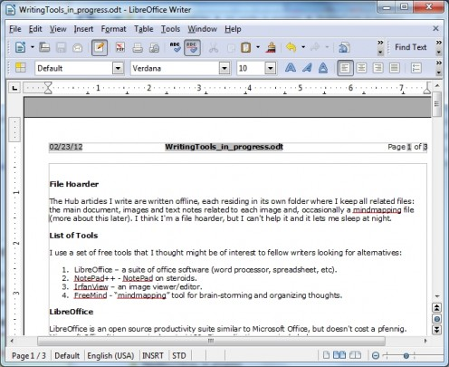 A LibreOffice document (showing this article in progress).