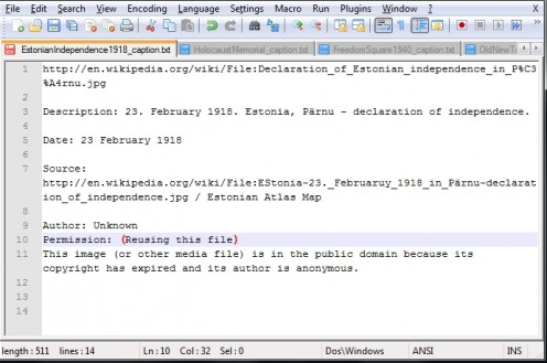 A NotePad++ text document with four opened caption text files.