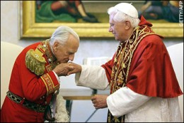 Pope Benedict with former Grand Master of the Order of Malta Prince Fra Andrew Bertie.