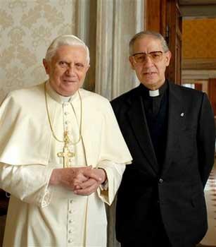 Pope Benedict XVI (now called Pope Emeritus) and Adolfo Nicolas, head of the Jesuits