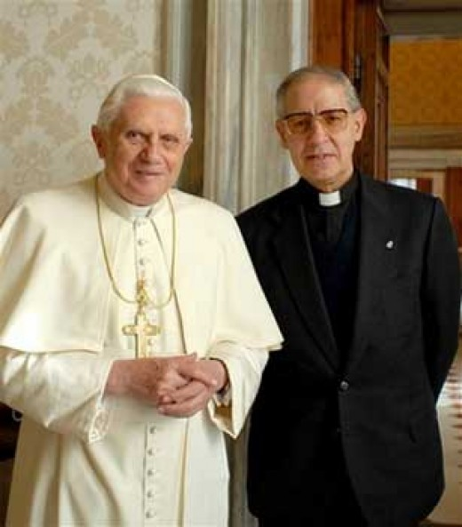 Pope Bendidict XVl and Superior General of the Society of Jesus Aldolfo Nicolas. Also known as the White Pope and the Black Pope.