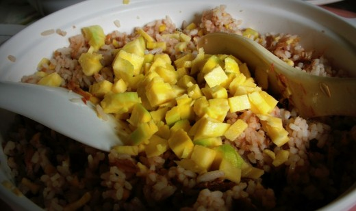 Mix the mango with your bagoong rice
