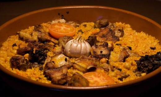 Baked Rice and Pork (Spanish style)