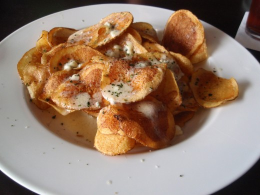 Homemade Potato Chips with Blue Cheese Fondue