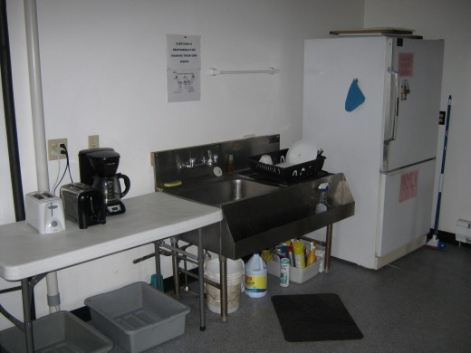 A few of the hostel's kitchen facilities.