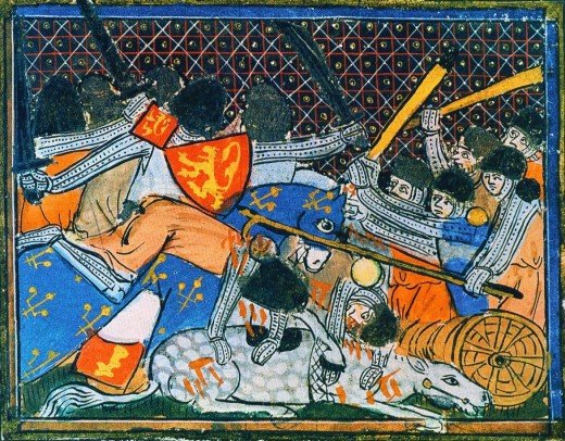 Medieval depiction of the battle