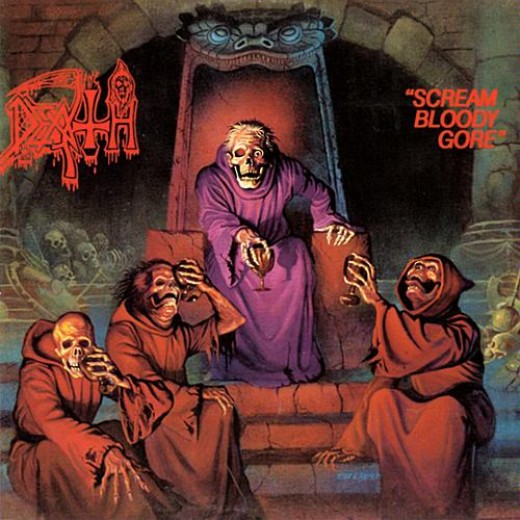 "The album artwork for Death's ""Scream Bloody Gore"", widely considered the first death metal album."
