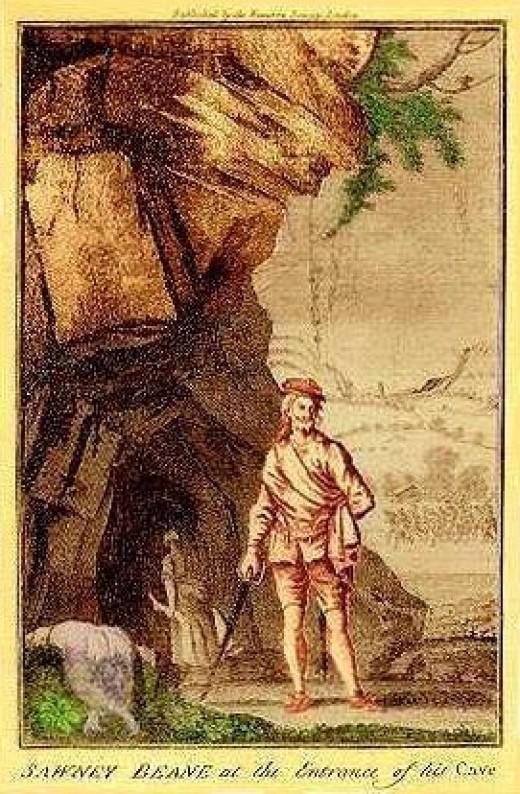 An artist's illustration of Alexander 'Sawney'  Beane.
