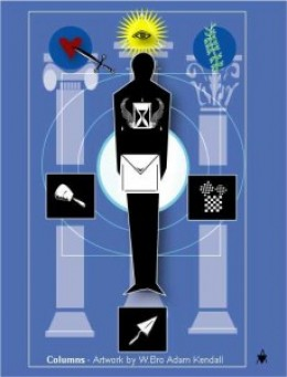 The Masonic initiation where the initiate is the third pillar standing between the two others.