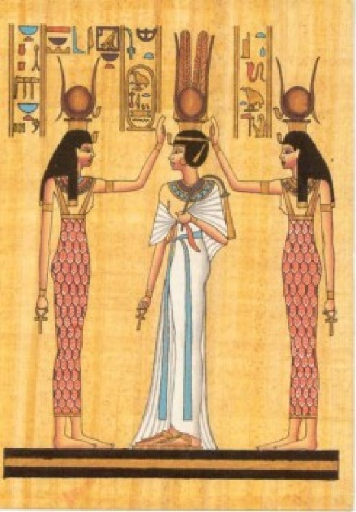 Isis and Hathor crowning Queen Nefertari.