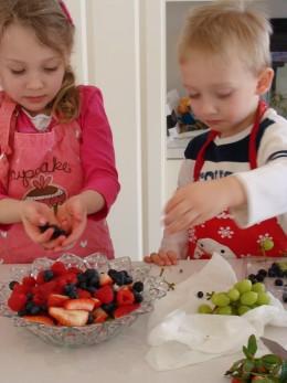 Adding the fruit.