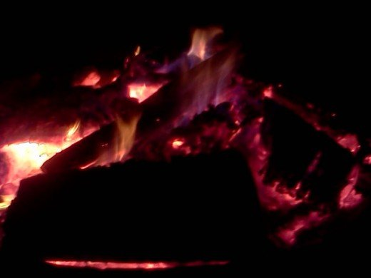 Blue flames from the bonfire