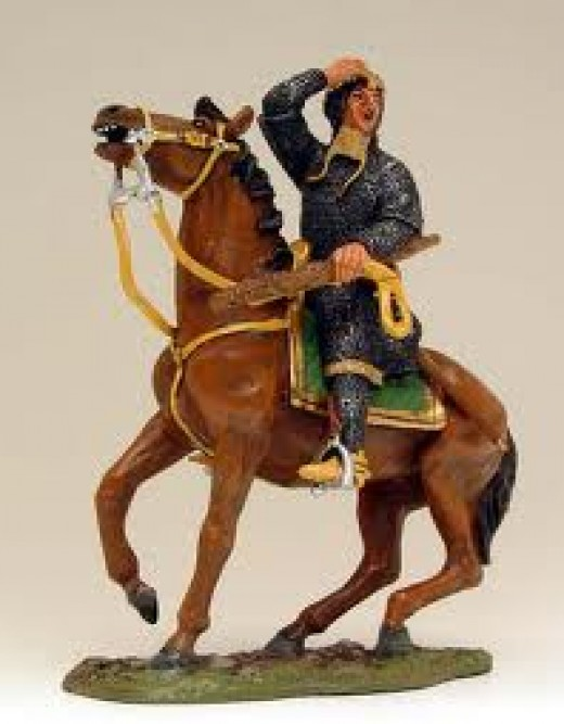 Model of the young duke raising his helm