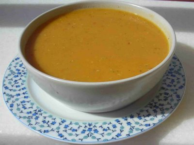 Red lentil soup (blended, with a bit of yogurt)