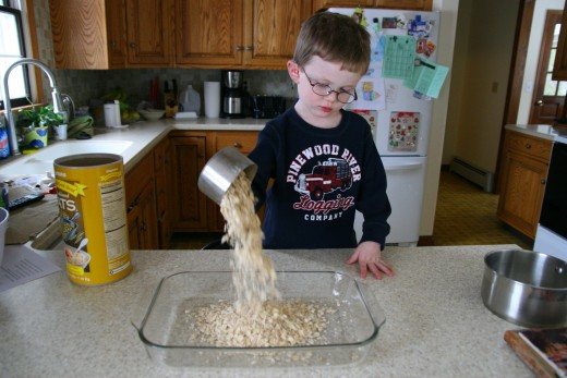 Kids can measure and pour the dry ingredients!