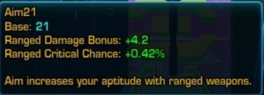 The Aim stat breakdown for a non-Trooper/Bounty Hunter