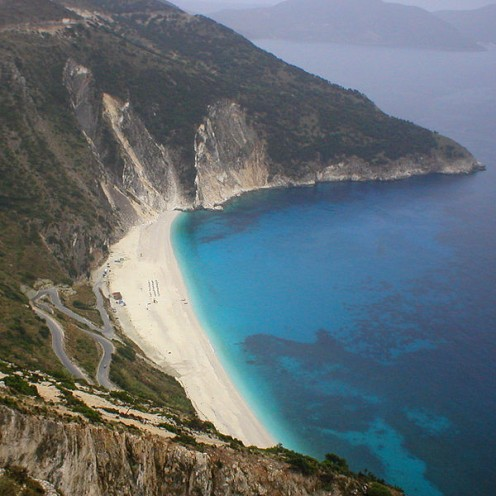 The Myrtos beach in Pylaros/Kefalonia, Greece