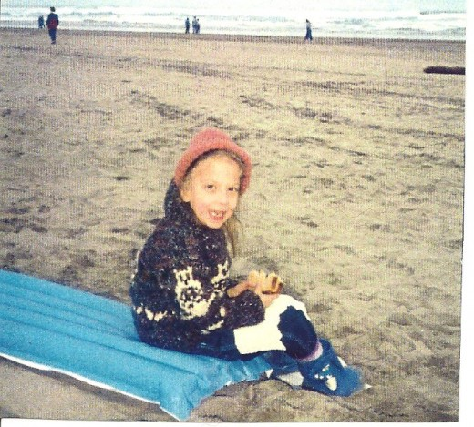 KT (2nd grade) on vacation at the beach in Vancouver, BC, Canada