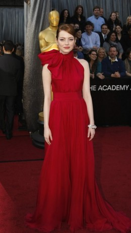 Emma Stone in a red Giambattista Valii couture gown