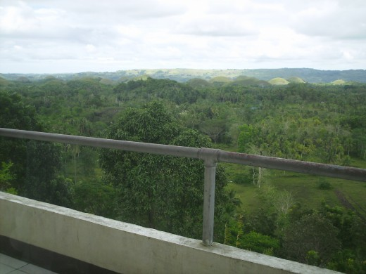Panorama from the view deck of a restaurant on Chocolate Hills Complex
