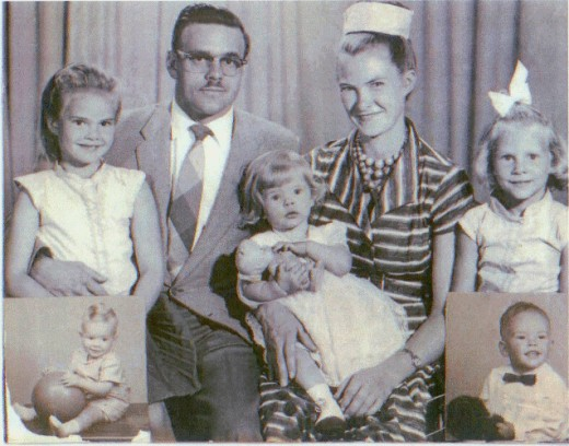Me at the age of 8 with my parents and siblings. (The 2 brothers came soon after the picture was taken, the youngest on the left when I was 10.