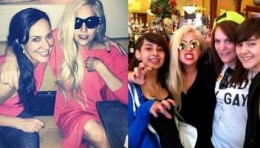 Gaga goofing off with fans